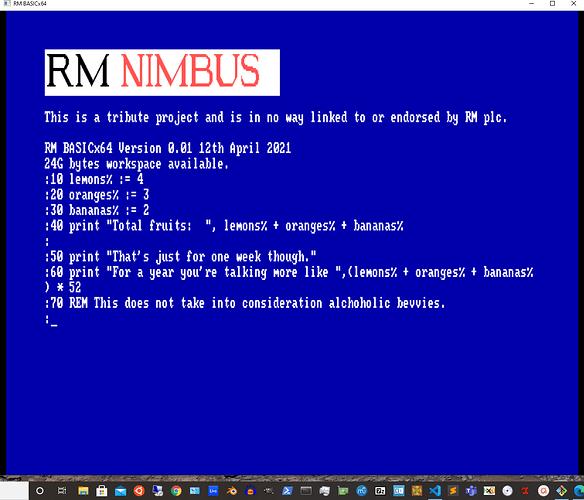 rm basicx64 first program
