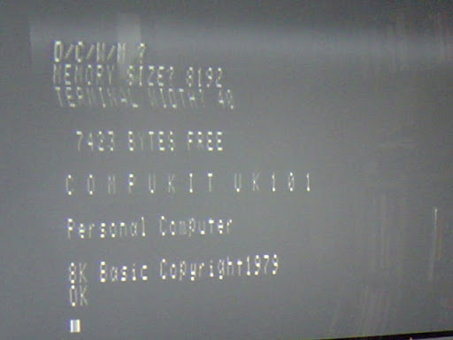 Wobbly TV picture shows 7423 bytes free, cold start of Computer UK101 Basic