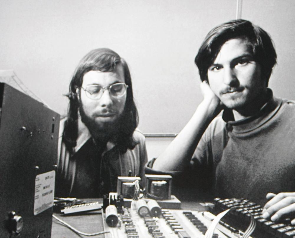 Steve Wozniak and Steve Jobs with an Apple I